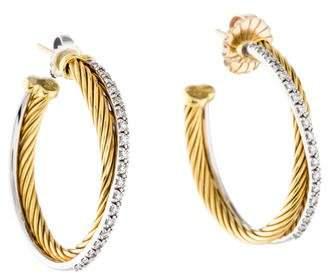 David Yurman 18K Diamond Crossover Medium Hoop Earrings
