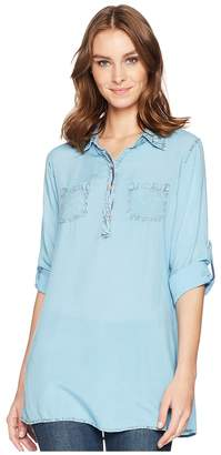 Scully Bina Sexy Fabric Button Front Blouse Women's Clothing