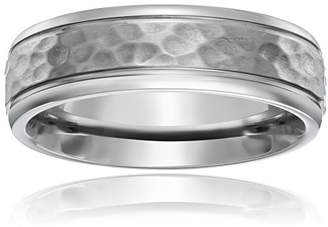 Titanium 7mm Comfort Fit Wedding Band with Hammered Center and High Polish Edges