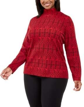 Karen Scott Plus Size Fair Isle Printed Mock-Neck Top, Created For Macy's