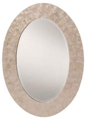 Mother of Pearl OSP Designs Rio Beveled Wall Mirror with White Oval Frame