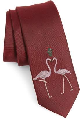 1901 Flamingo Mistletoe Silk Blend Tie