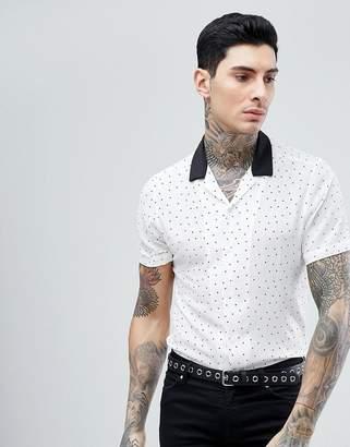 Asos DESIGN oversized polka dot shirt with contrast revere collar