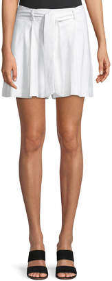 Laundry by Shelli Segal Pleated Linen Belted Shorts