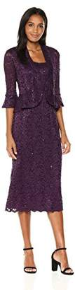 R & M Richards R&M Richards Women's Two Piece Lace Long Jacket Dress Missy