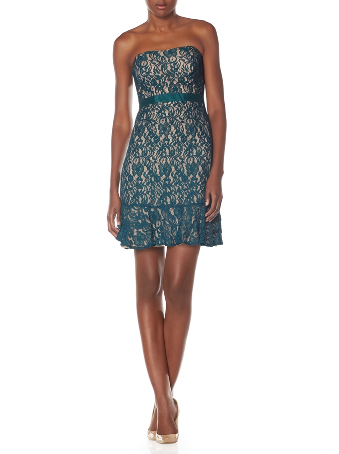 The Limited Strapless Lace Flounce Dress