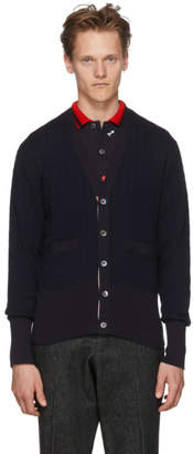 Thom Browne Navy Baby Cable V-Neck Cardigan