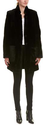 Karen Millen Luxury Leather-Trim Coat