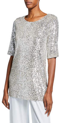 Caroline Rose Plus Size Sequin Knit Half-Sleeve Easy Tee