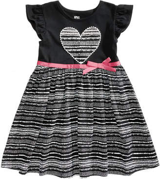 Epic Threads Printed Flutter-Sleeve Dress, Little Girls, Created for Macy's