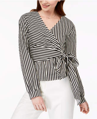 Say What Juniors' Striped Faux-Wrap Top