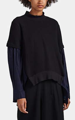 Yohji Yamamoto Regulation Women's Neoprene Jersey & Poplin Sweatshirt Blouse - Black