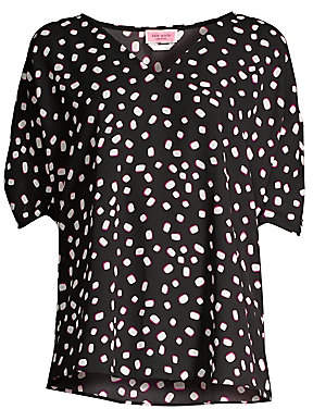 Kate Spade Women's Mallow Dot Ruched Sleeve Blouse