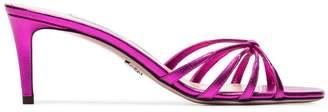 Prada fuchsia 65 metallic leather sandals