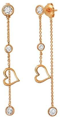 Crislu Women's Rose Gold Plated 925 Sterling Silver Round Clear Cubic Zirconia Hear Accent DBY Drop Earrings