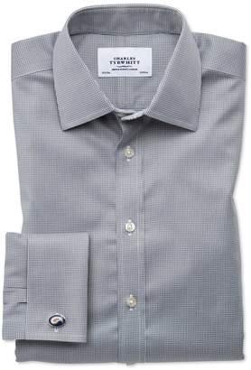Charles Tyrwhitt Classic Fit Non-Iron Puppytooth Dark Grey Cotton Dress Shirt French Cuff Size 15.5/34