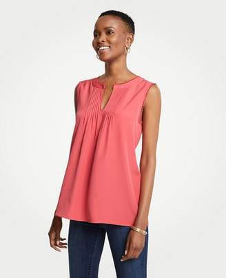 Ann Taylor Petite Scalloped Pintucked Shell