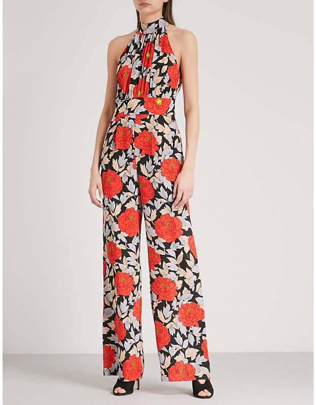 Floral-print halterneck silk jumpsuit