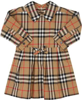Burberry Check Print Cotton Poplin Dress