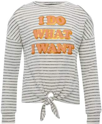 M&Co Teens' tie front slogan print stripe top