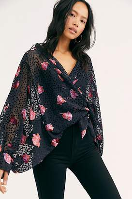 Free People Allure Velvet Tie Front Kimono
