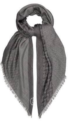 Giorgio Armani Wool And Silk Blend Scarf - Mens - Black