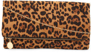 Foldover Leopard Print Clutch With Chain