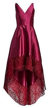 ML Monique Lhuillier Women's Lace Trim High-Low Gown