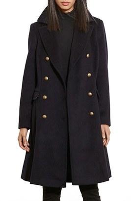 Women's Lauren Ralph Lauren Skirted Wool Blend Military Coat $320 thestylecure.com