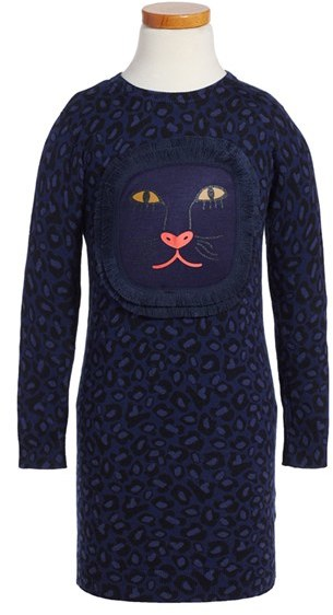 Little Marc Jacobs Girl's Little Marc Jacobs Leopard Fringe Sweater Dress