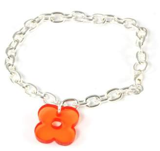 Block Silver Plated Flower Charm 20cm Bracelet