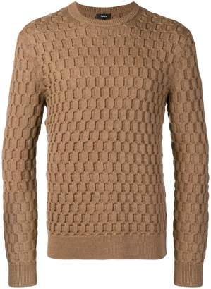 Theory geometric texture fitted sweater