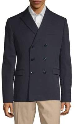 Valentino Peak Lapel Double-Breasted Wool Jacket