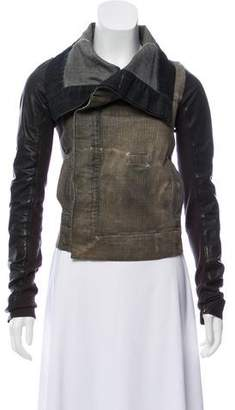 Rick Owens Leather-Accented Denim Jacket