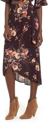 Band of Gypsies Floral Print Midi Wrap Skirt