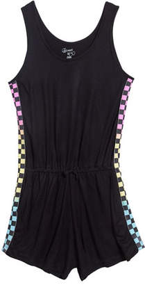 Flowers by Zoe Sleeveless Romper w/ Check Sides, Size S-XL