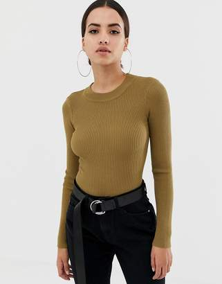 Missguided crew neck ribbed knitted bodysuit in khaki