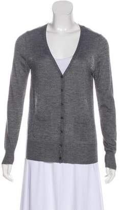 Derek Lam Knit Chiffon-Paneled Cardigan Grey Knit Chiffon-Paneled Cardigan
