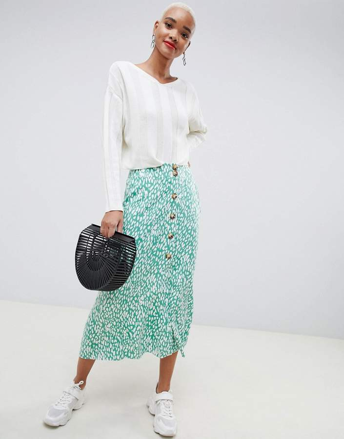 ASOS DESIGN midi skirt with button front in green leopard print two-piece