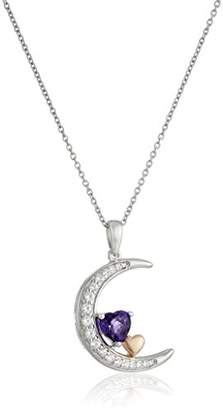 Sterling Silver with Pink Gold Plating Amethyst and Created White Sapphire Crescent Heart Pendant Necklace