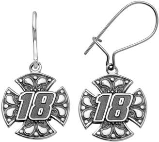 """Insignia Collection NASCAR Kyle Busch Stainless Steel """"18"""" Maltese Cross Drop Earrings"""