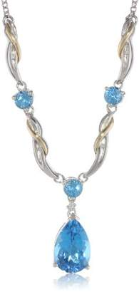 Sterling Silver and 14k Yellow Gold Diamond and Swiss Blue Topaz Necklace