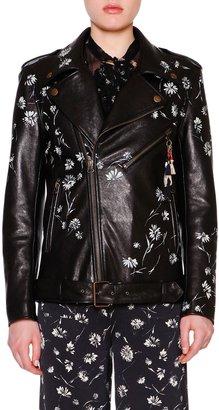 Etro Hand-Painted Leather Biker Jacket, Black/Multi $1,423 thestylecure.com
