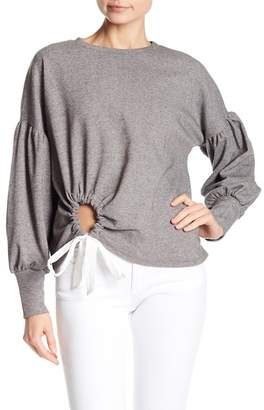 June & Hudson Side Ruched Long Sleeve Knit Top
