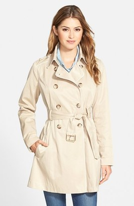 GUESS Piped Fit & Flare Trench Coat $198 thestylecure.com