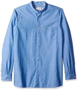 Lacoste Men's Long Sleeve Chambray Mandarin Collar Slim Woven Shirt