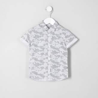 River Island Mini boys grey digital camo print shirt