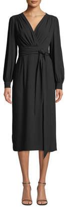 Escada Wrap-Front Long-Sleeve Crepe Midi Dress