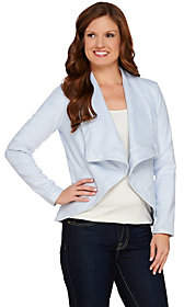 Halston H by Faux Suede Long Sleeve Open FrontJacket