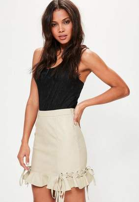 Missguided Faux Leather Frill Mini Skirt